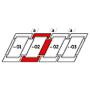 Raccordo combi a = 140 mm 134 cm x 98 cm Profili in rame per materiali di copertura piani fino a 16 mm (2x8 mm) Montaggio standard (linea rossa)