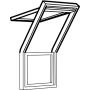 Balconata superiore 78 cm x 140 cm Legno di pino laccato trasparente Profili esterni in rame Vetro triplo Thermo 2