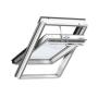 Finestra con apertura a bilico 47 cm x 98 cm Legno di pino laccato bianco Profili esterni in alluminio Vetro triplo Thermo 2 Plus la finstra per la Svizzera VELUX INTEGRA® Solar automatica