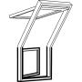 Balconata a sinistra 78 cm x 109 cm Legno di pino laccato trasparente Profili esterni in alluminio Vetro triplo Thermo 2