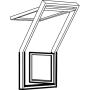 Balconata a destra 78 cm x 109 cm Legno di pino laccato trasparente Profili esterni in rame Vetro triplo Thermo 2