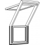 Balconata fissa 78 cm x 109 cm Legno di pino laccato trasparente Profili esterni in zinco al titanio Vetro triplo Thermo 2